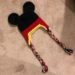 Hand knit Mickey Mouse infant hat